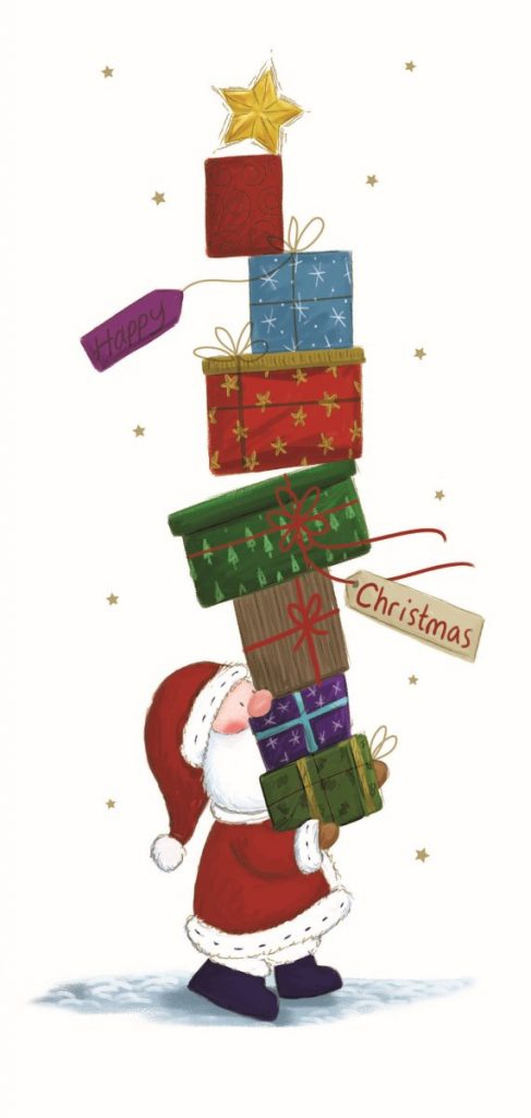 Charity Christmas Cards. Stack of Presents. Gifts. Santa. -0